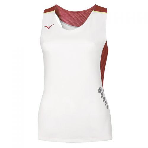 Mizuno Premium JPN Singlet Femme - Blanc & Rouge