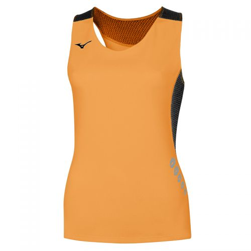 Mizuno Premium JPN Singlet Femme - Orange & Noir