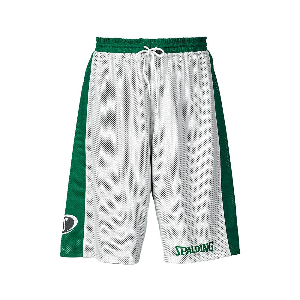Spalding Essential Reversible Shorts - Vert & Blanc - Face blanche