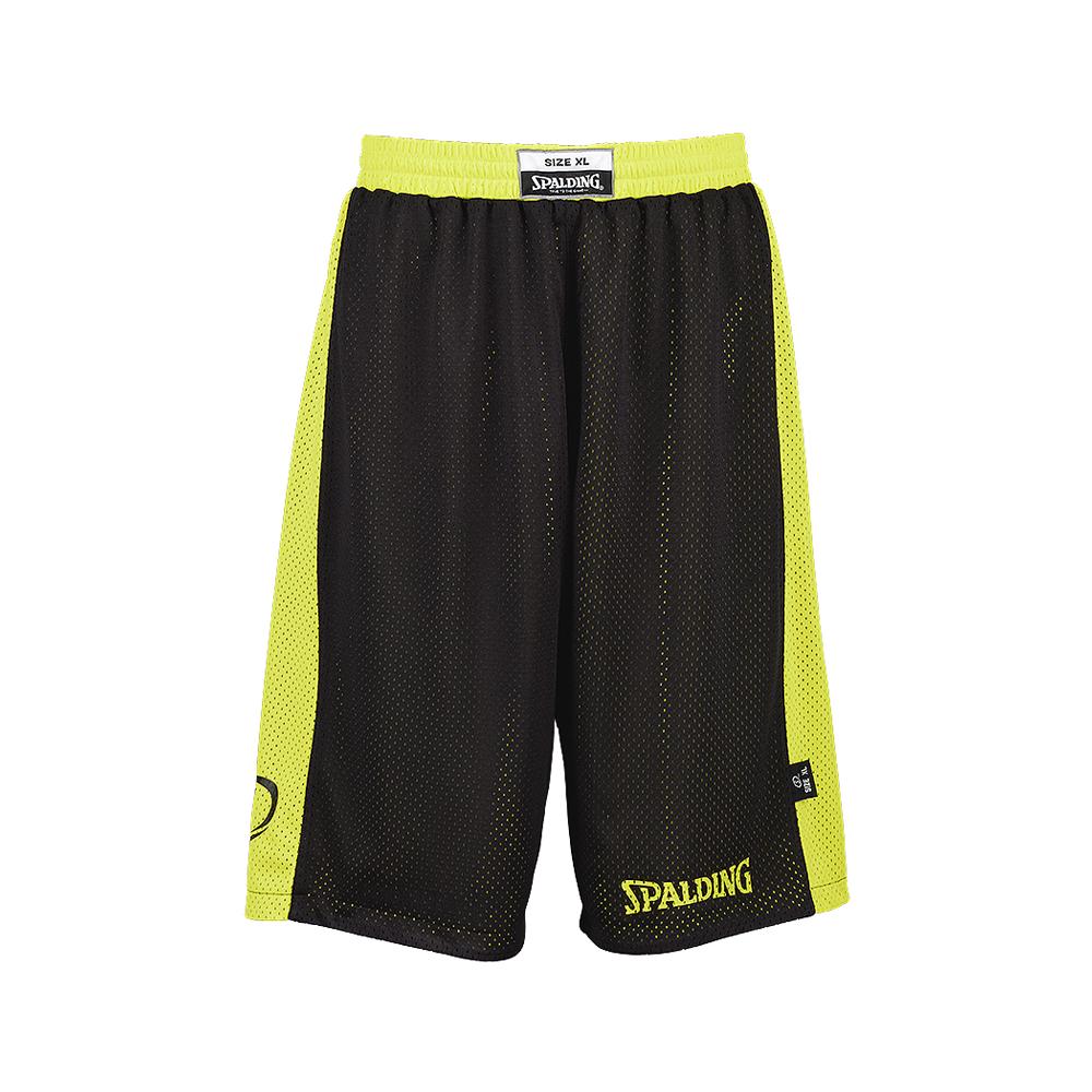 Spalding Essential Reversible Shorts - Jaune & Noir - Face noire