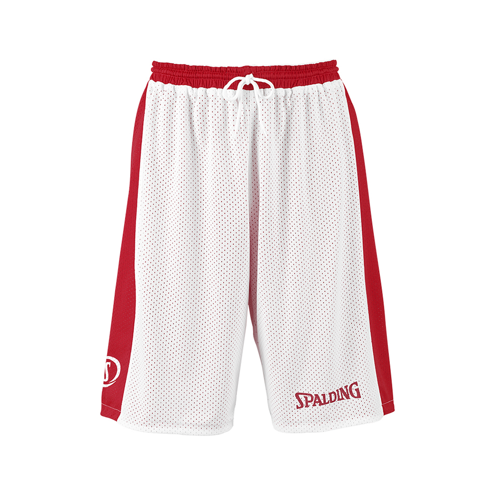 Spalding Essential Reversible Shorts - Rouge & Blanc - Face blanche