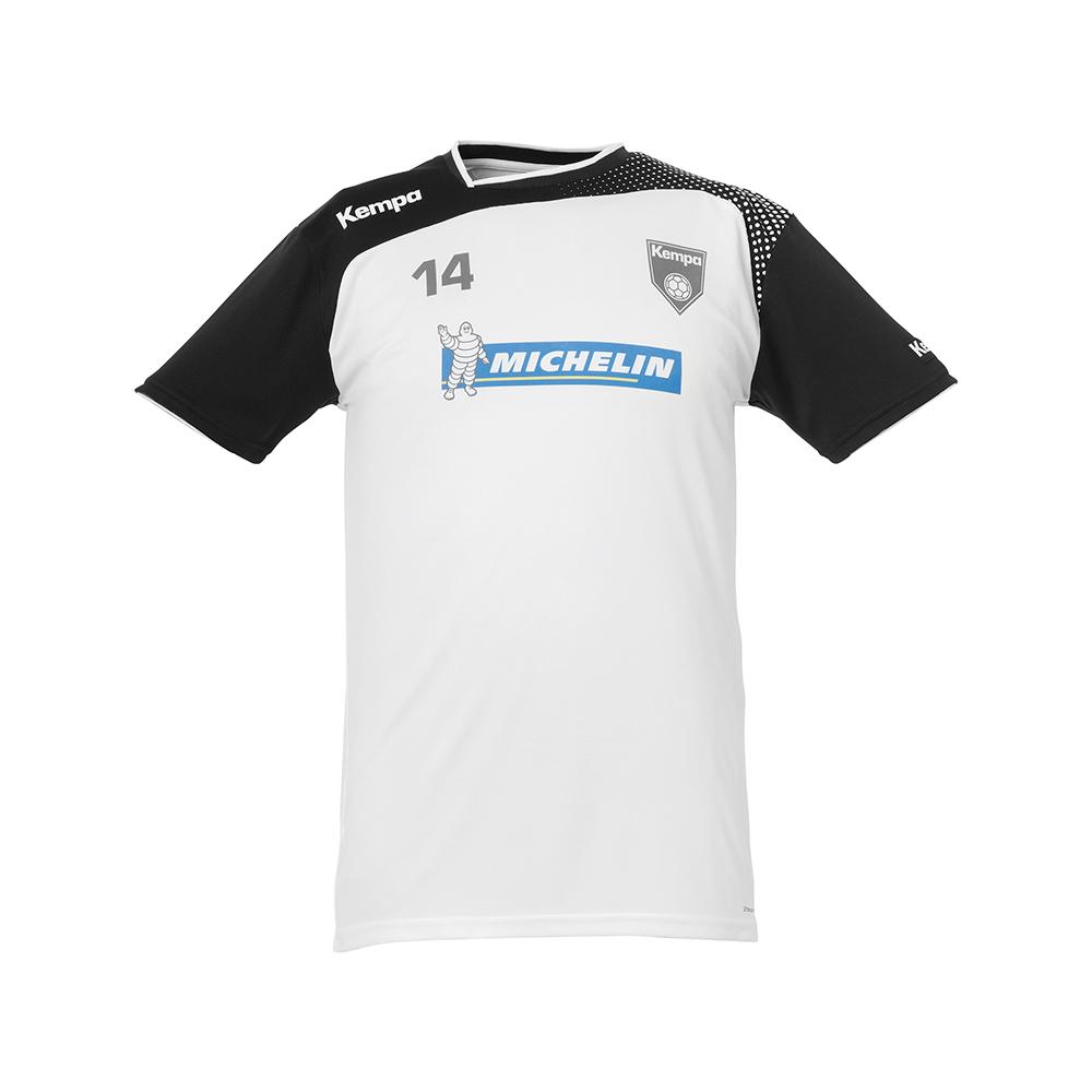 Kempa Emotion Shirt - Blanc & Noir - Exemple de marquage face