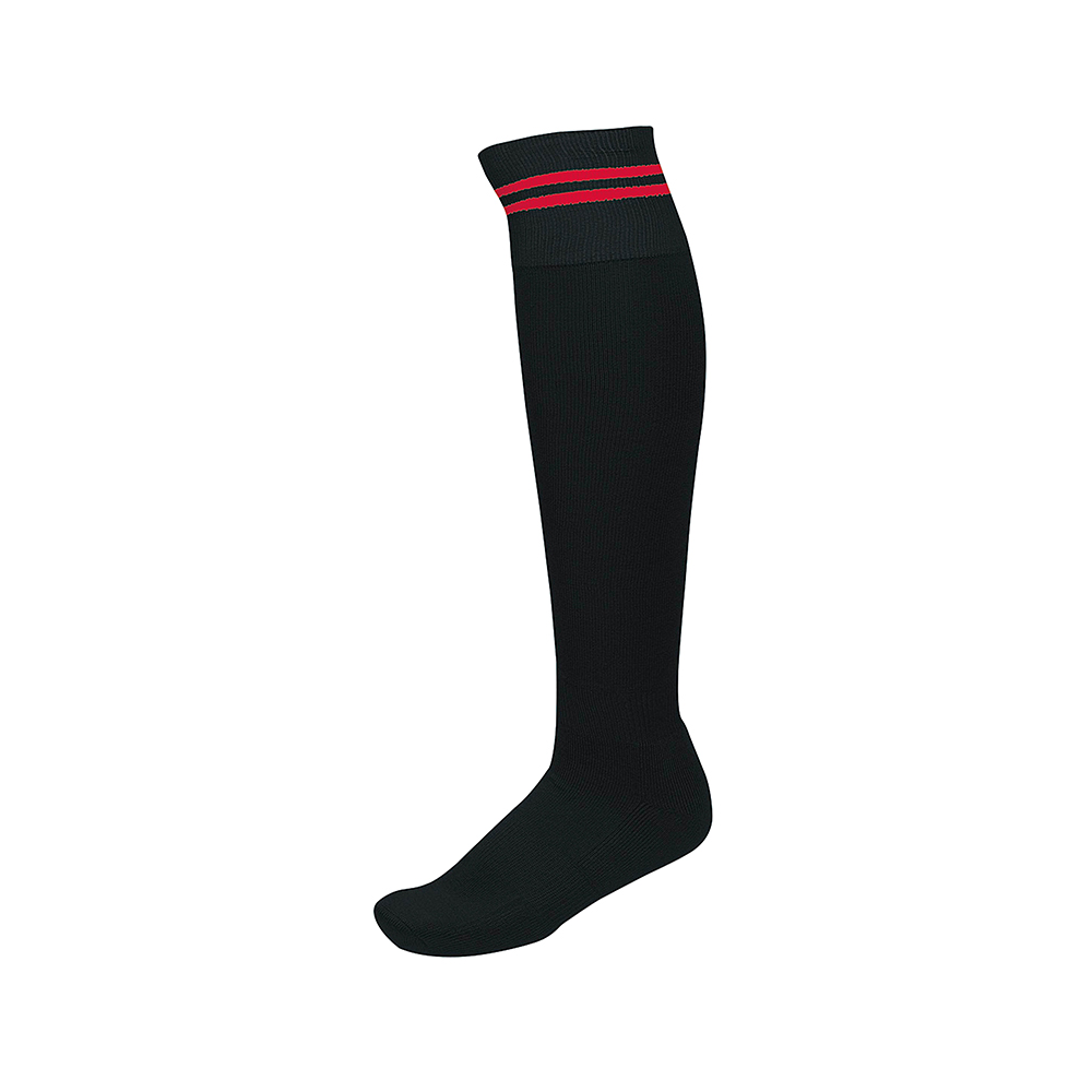 Chaussettes de Sport à Rayures - Noir & Rouge