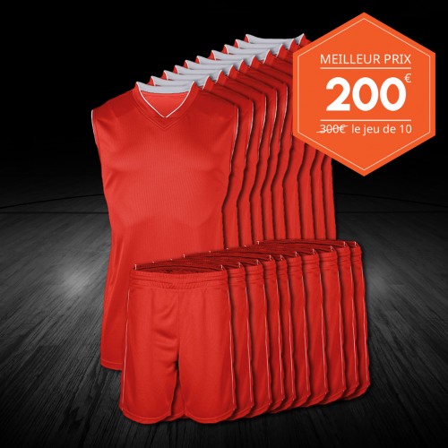 Premier prix Basketball - lot de 10 maillots-shorts