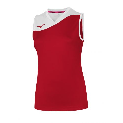Mizuno Authentic Myou NS Shirt - Femme - Rouge & Blanc
